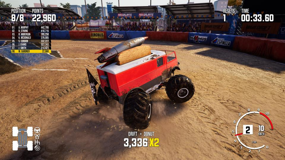 Donut in Monster Truck Championship freestyle mode