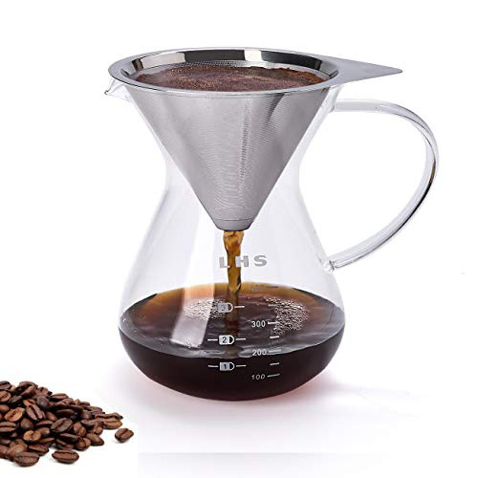 Pour Over Coffee Maker - Paperless Reusable Stainless Steel Filter