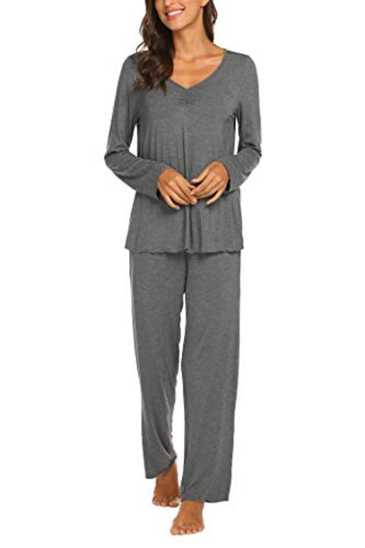 Ekouaer Pajamas Women's Long Sleeve Nightwear Soft Pj Set with Sleeping Pants Grey M