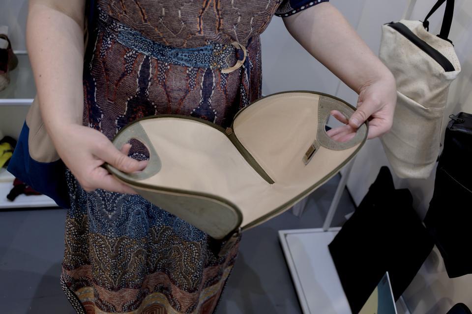 Interior of Marita Morena handbag made with cork material.