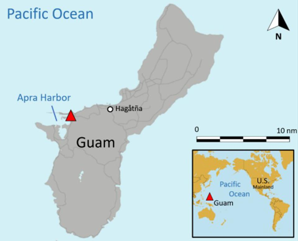 Location of the crash at the US Naval base in Guam, in the Pacific Ocean