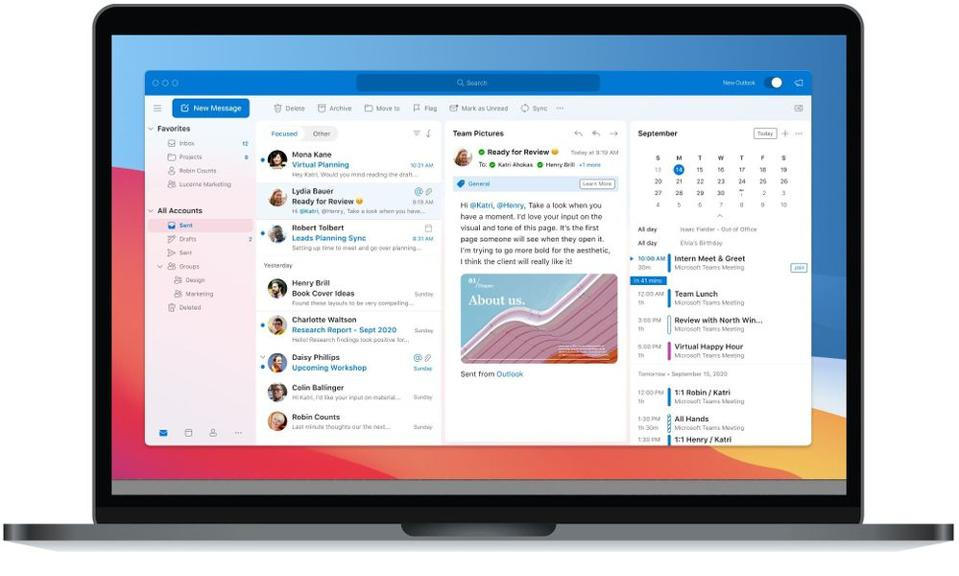 Outlook for Mac on a MacBook Pro