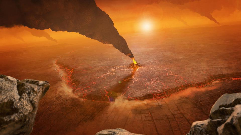 Surface of Venus illustration with volcanoes