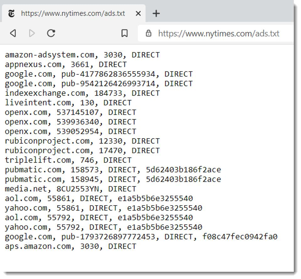 nytimes (screen shot) of ads.txt file