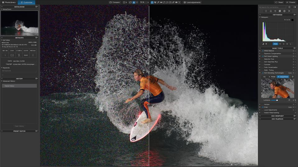 Removing noise of a shot featuring a surfer