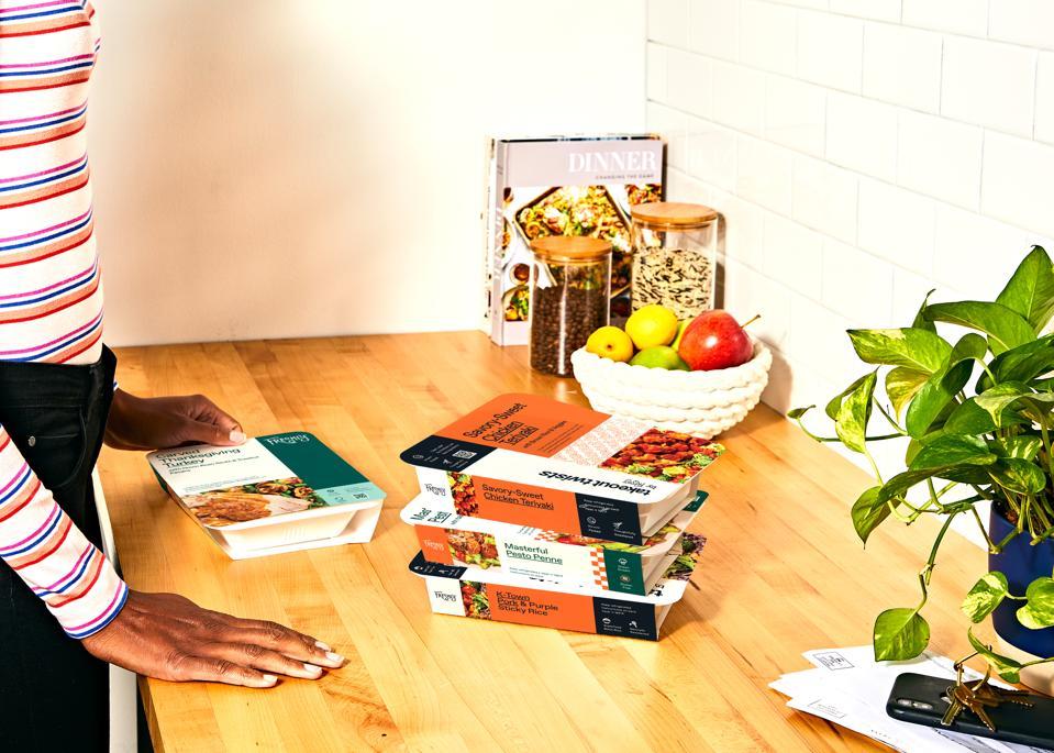Packages of preprepared Freshly meals.