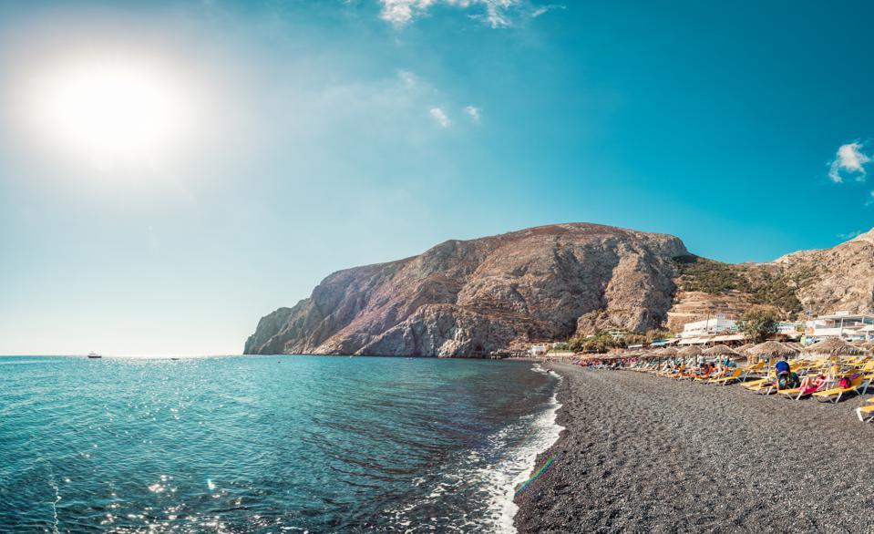 Black sand beach at Perissa in Santorini, Greece