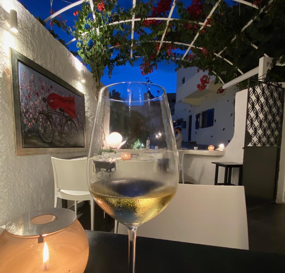 Assyrtiko wine at a Santorini restaurant
