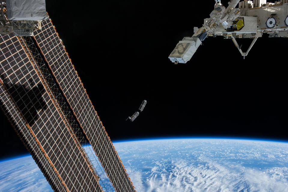 Satellites launch a lot from the International Space Station, such as this set in 2014.