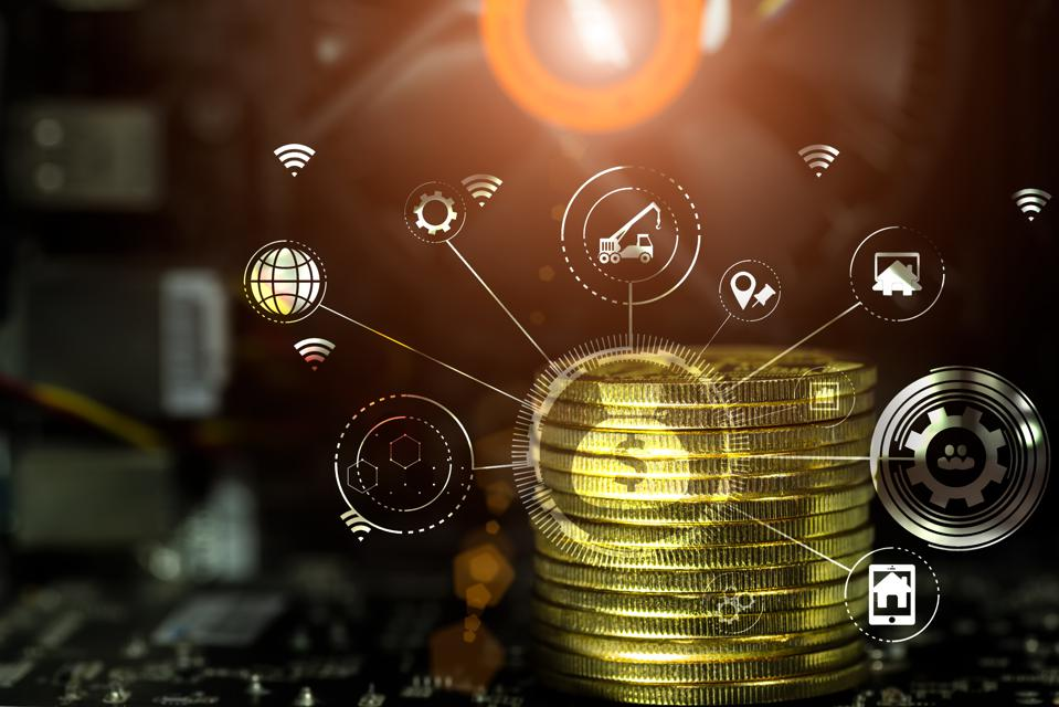 Cryptocurrency and Business continuity line image for business concept.