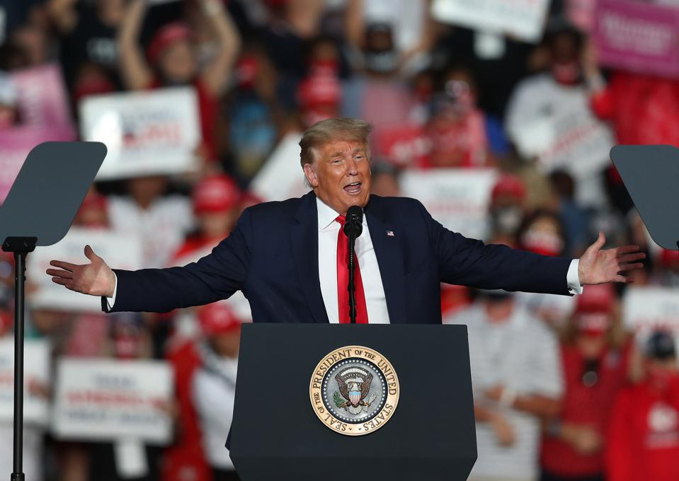 President Trump Holds First Campaign Rally Since Coronavirus Diagnosis