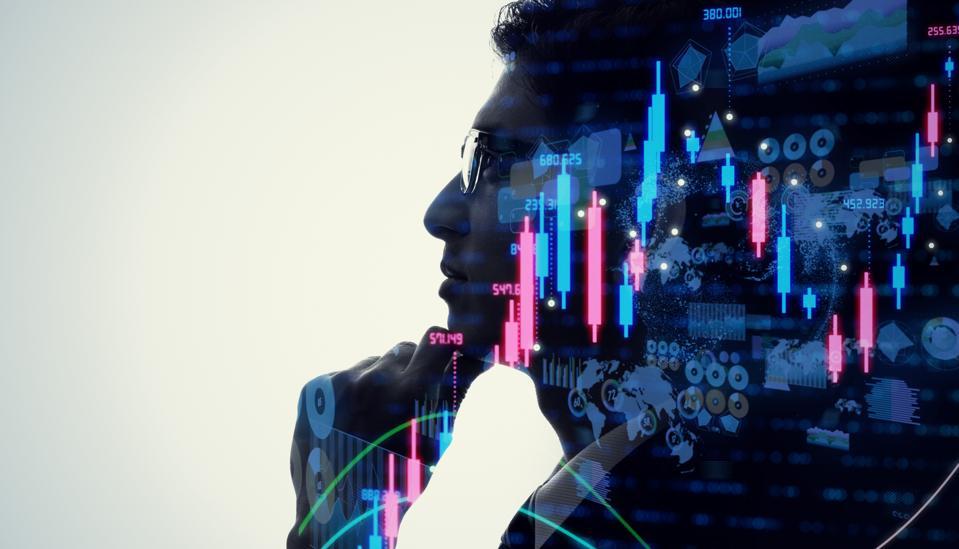 Financial technology concept. Stock chart. Investment. Fintech.