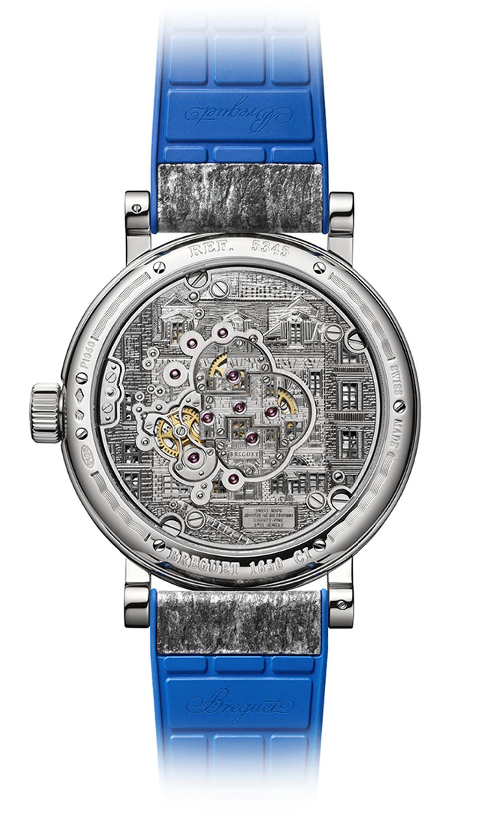 Engraved caseback of the Breguet Classique Double Tourbilon 5345 Quai De l'Horloge.