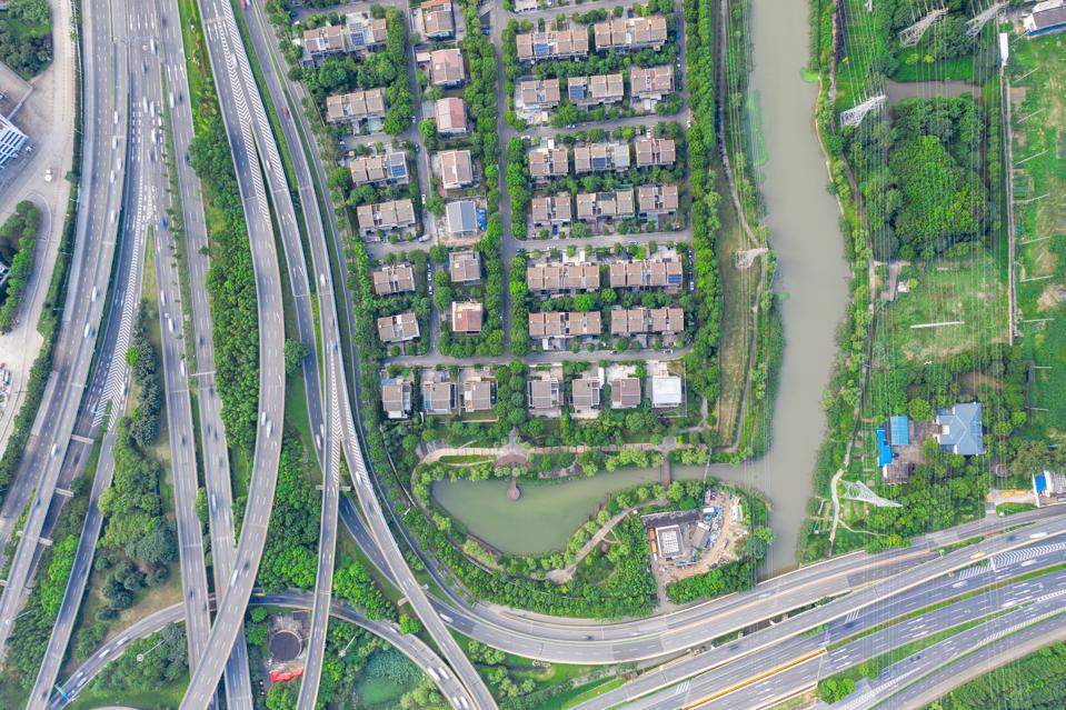 Aerial view of overpass and residential community