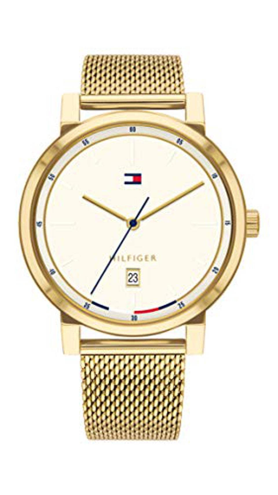 Tommy Hilfiger Men's Quartz Watch with Gold Tone Stainless Steel Strap, 20 (Model: 1791733)