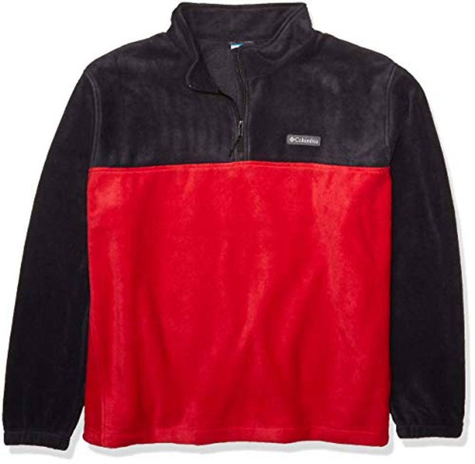 Columbia Men's Steens Half Zip, Black/Mountain Red, Medium