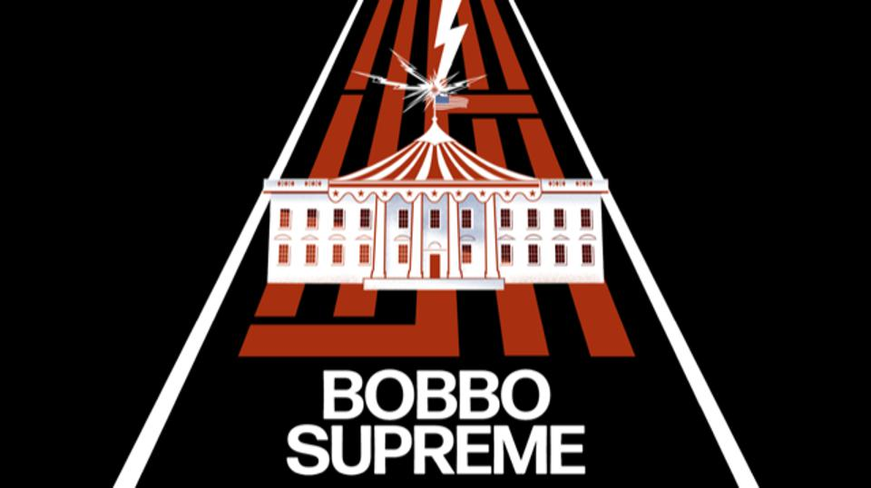 Bobbo Supreme with a drawing of the White House