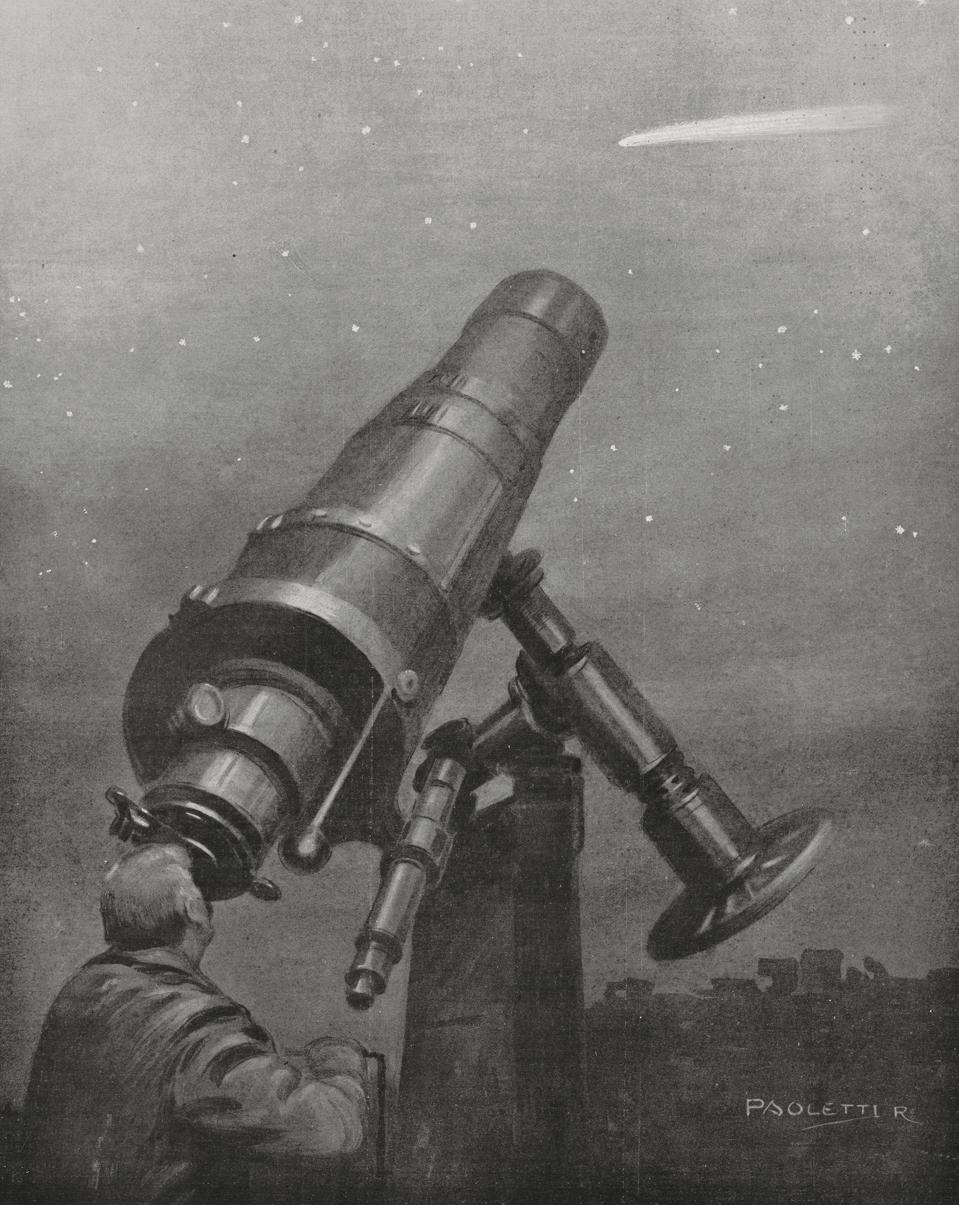 Senator observing Halley's comet from observatory in 1910, Italy.