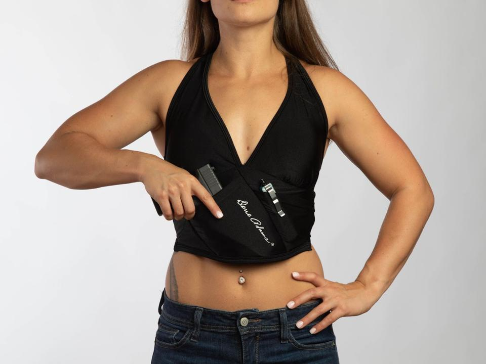 Dene Adams' Active Bra Holster allows women to carry comfortably and securely.
