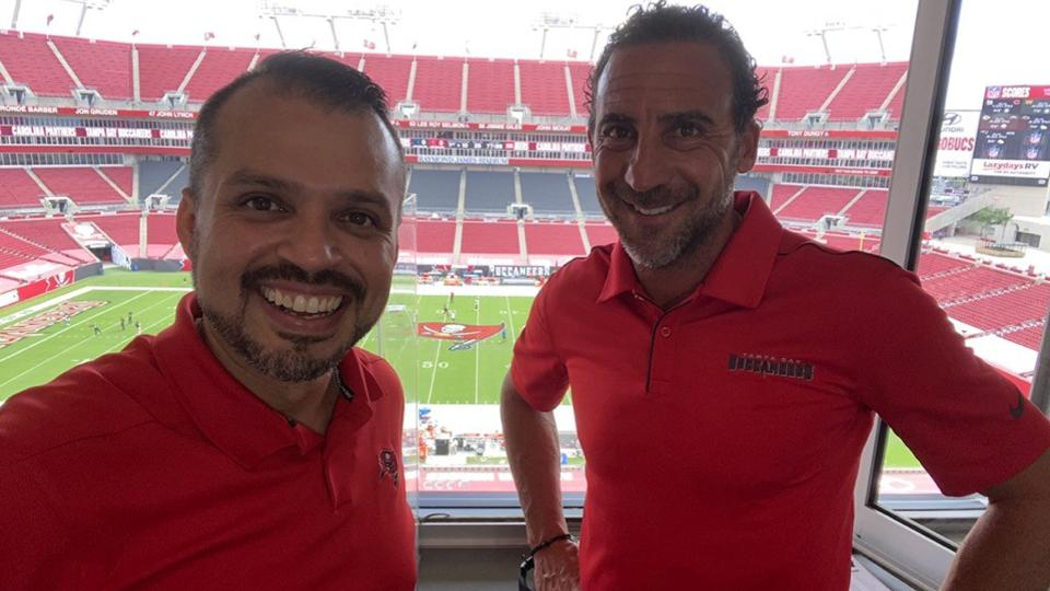 Martin Gramatica in the broadcast booth with play-by play man Carlos Bohorquez.