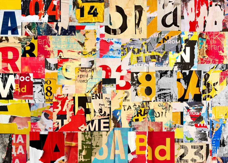 Collage of street poster, many numbers and letters