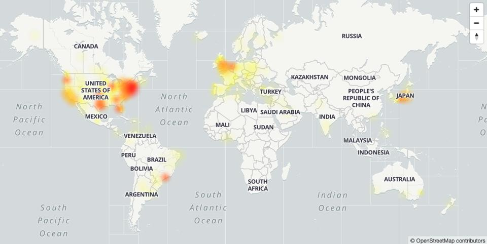 Twitter outage map showing where Twitter is down.