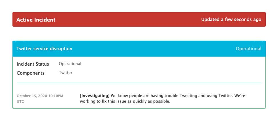 The status page of Twitter