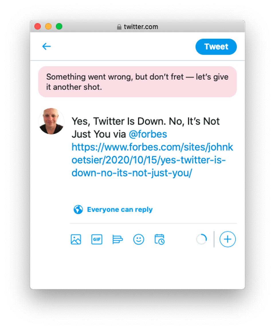 Twitter is down.  Here is a message I received while trying to post this story.