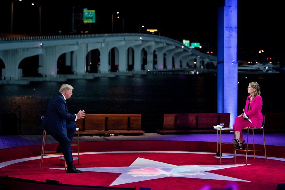 Savannah Guthrie moderating and fact-checking Donald Trump.