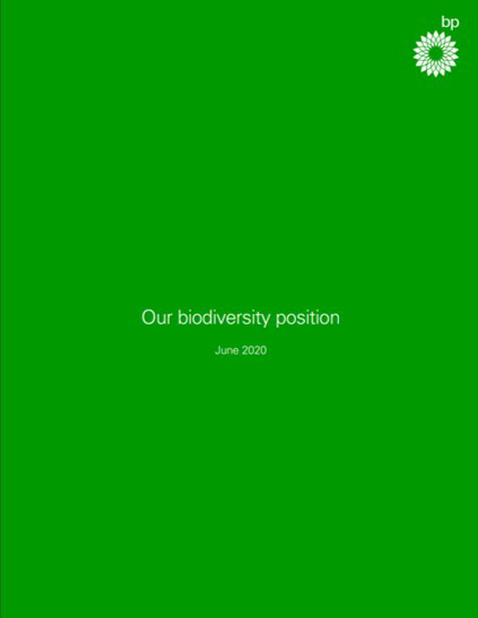 The cover of BP's new biodiversity position, issued on June 2020