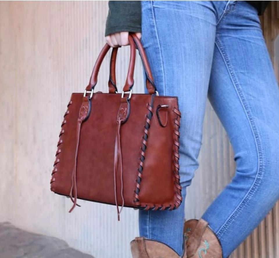 Hiding Hilda's Emma Beautiful Locking Leather Satchel Conceal Carry Purse.