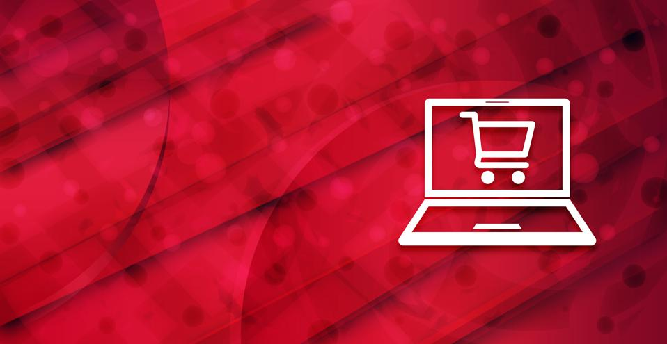Online shopping cart laptop icon colorful shiny abstract banner background illustration