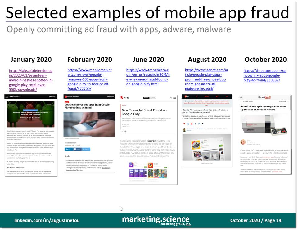 selected examples of mobile app ad fraud