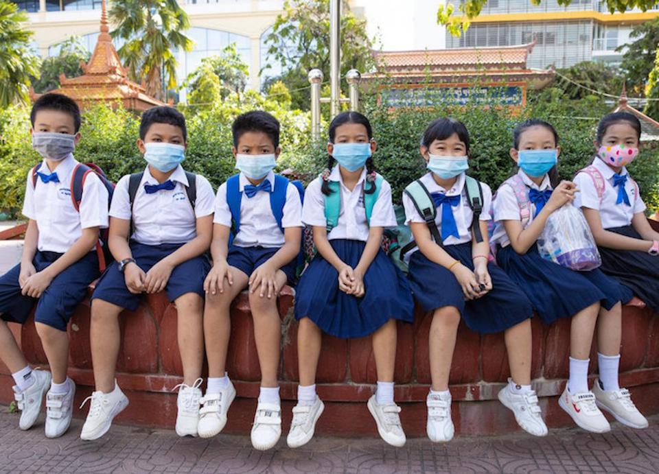 Students at Preah Norodom Primary School, Phnom Penh, Cambodia on September 7, 2020. UNICEF has partnered with Cambodia's Ministry of Education, Youth and Sport to ensure a safe reopening for every school in the country.