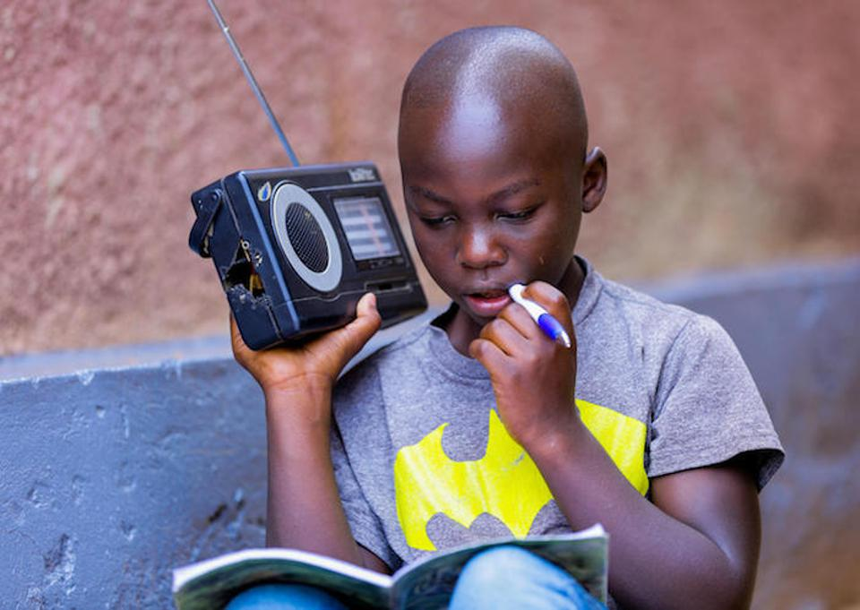 Primary schools in Rwanda are slated to reopen in November. While they're closed, 11-year-old Kevin studies at home, listening to radio lessons developed by UNICEF in collaboration with various development partners and the Rwanda Education Board.