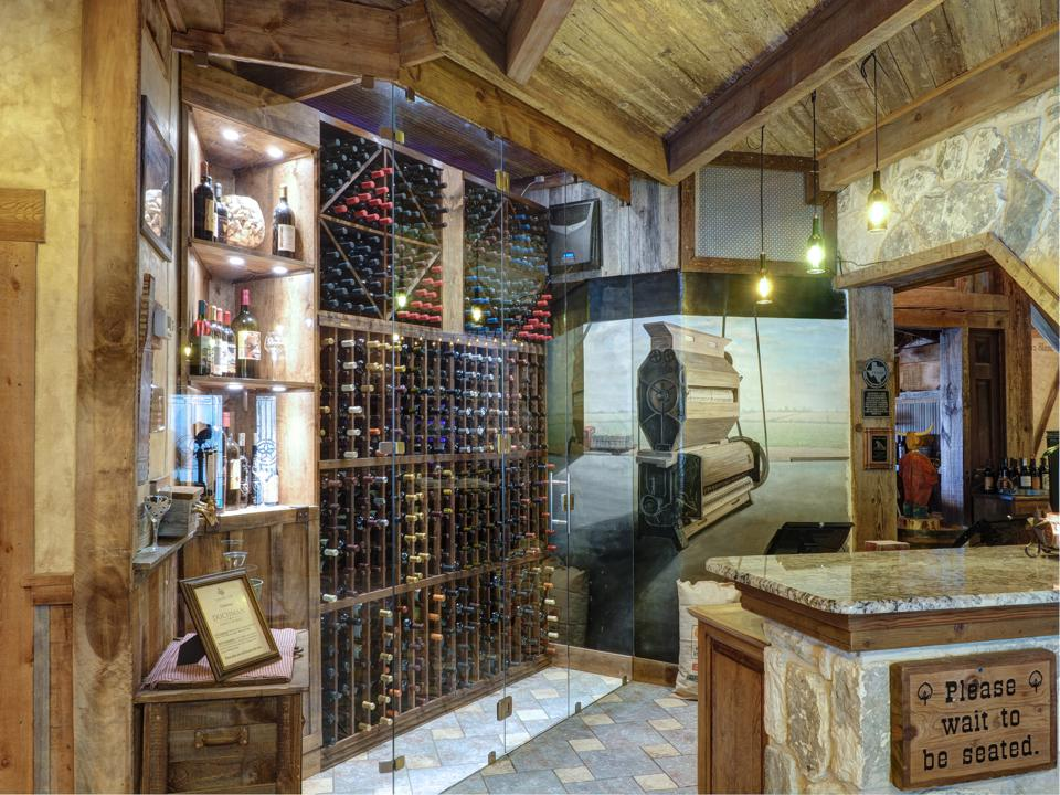 Cabernet Grill entrance with wine rack