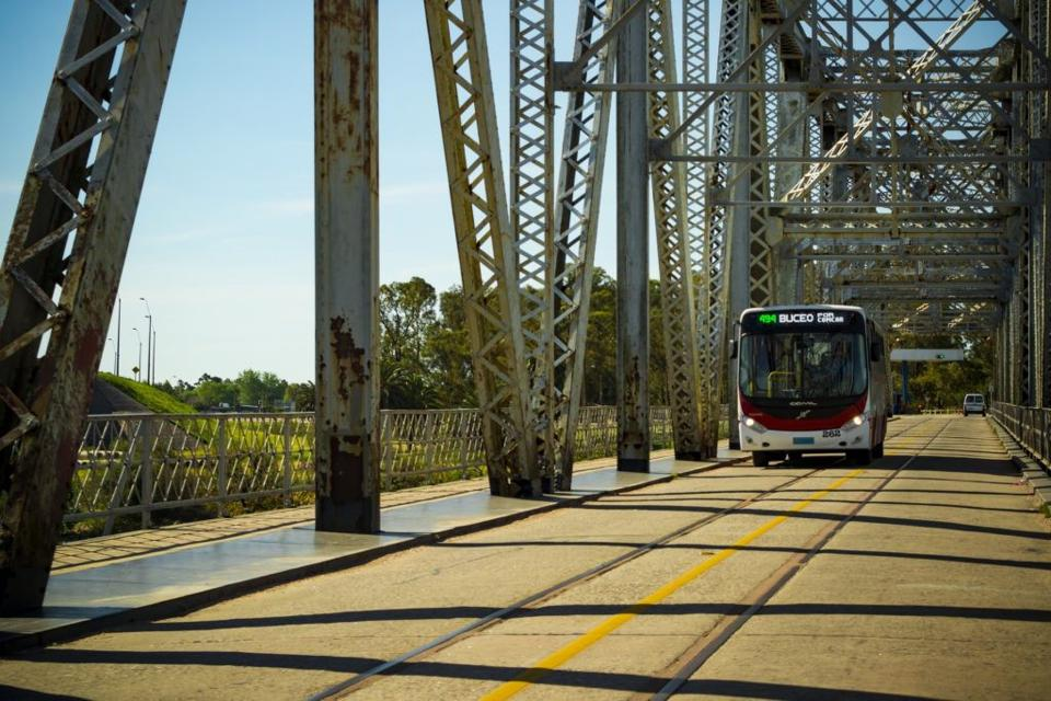 Bus on bridge