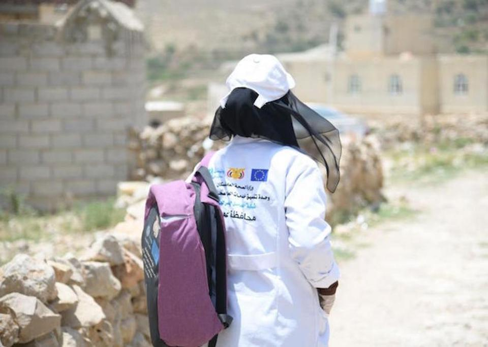 Community health worker Basma Al-Astuh visits children and families in their homes, and runs a small clinic for follow-up care.