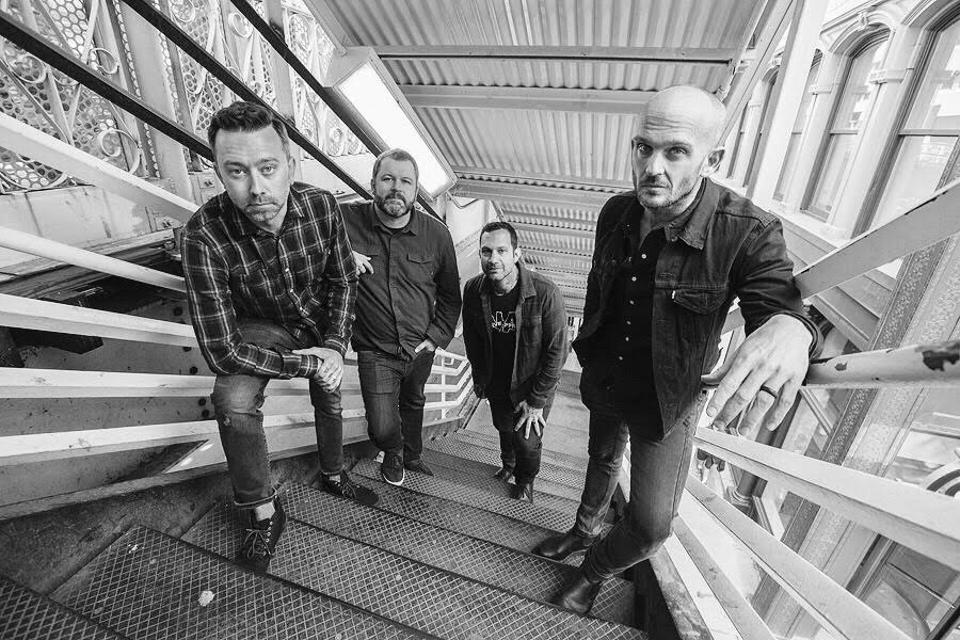 Rise Against pose outside Chicago Theatre. Sunday, April 28, 2019 in Chicago, IL (Photo by Barry Brecheisen)