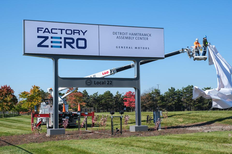 A sign is unveiled at General Motors Detroit-Hamtramck Assembly Friday, October 16, 2020 - introducing a new name: Factory ZERO, Detroit-Hamtramck Assembly Center. The facility will be known as Factory ZERO, which reflects the significance of this assembly center advancing GM's zero-crashes, zero-emissions and zero-congestion future. GM is investing $2.2 billion to make Factory ZERO its first fully dedicated electric vehicle assembly facility. (Photo by Steve Fecht for General Motors)