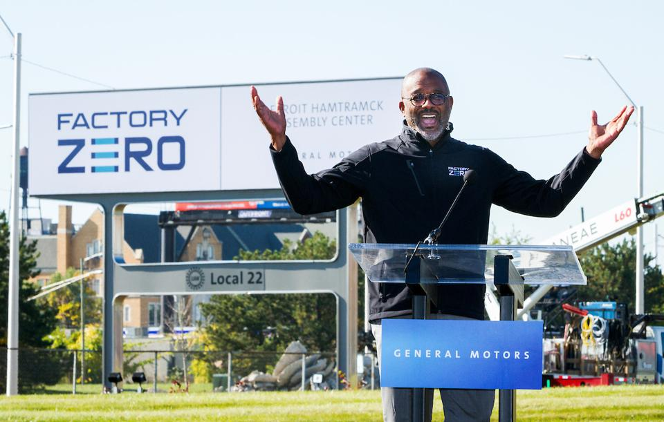 General Motors Executive Vice President Global Manufacturing Gerald Johnson addresses the gathering at GM Detroit-Hamtramck Assembly Friday, October 16, 2020 in Detroit, Michigan as the plant's new name is unveiled: Factory ZERO, Detroit-Hamtramck Assembly Center. The facility will be known as Factory ZERO, which reflects the significance of this assembly center advancing GM's zero-crashes, zero-emissions and zero-congestion future. GM is investing $2.2 billion to make Factory...