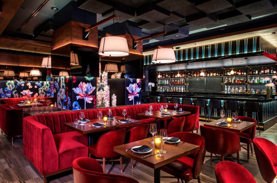 The luxe interior of Papi Steak.