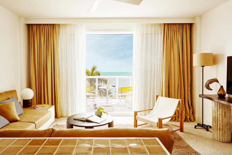 A suite at Palm Heights hotel, overlooking Cayman's Seven Mile Beach.