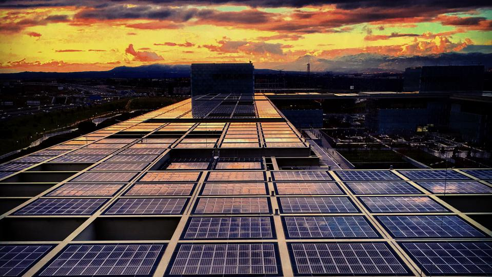 Solar roof in Telefonica corporate headquarters in Madrid