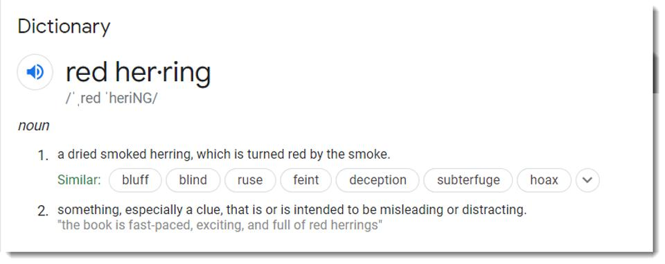 dictionary (screen shot) definition of red herring