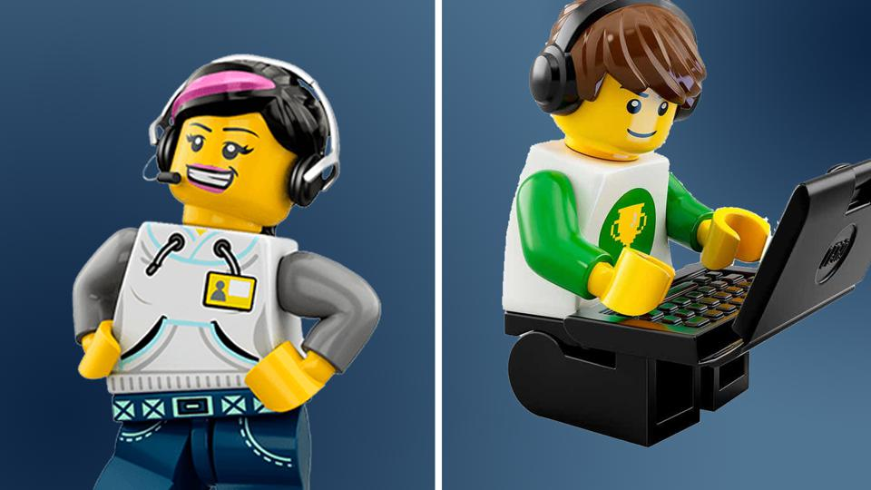 Two Lego people one, on phone one on laptop calling each other