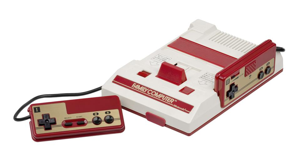 The NES in Japan, known as the Famicom, i.e. the Family Computer.