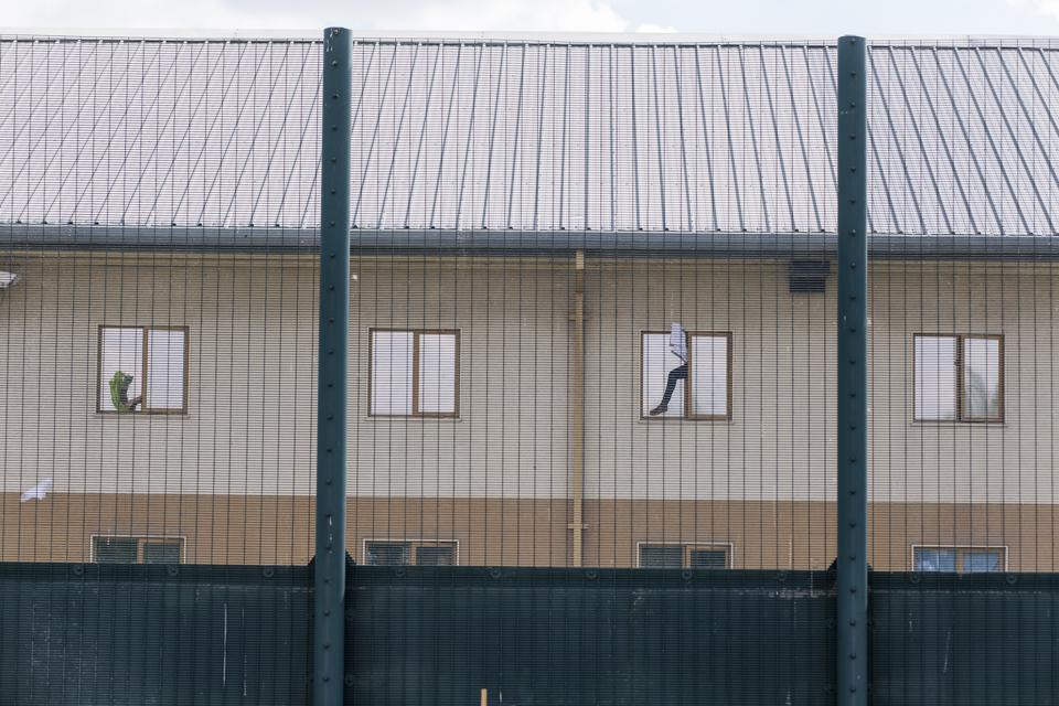 The facade of a U.K. detention center