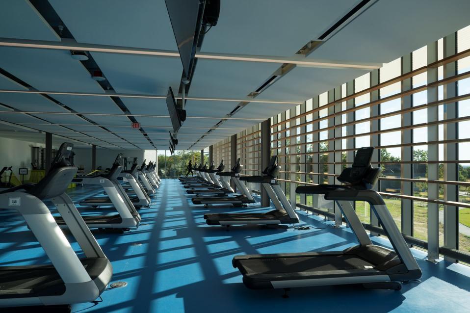 Treadmills populate Colby College's new Harold Alfond rec center.