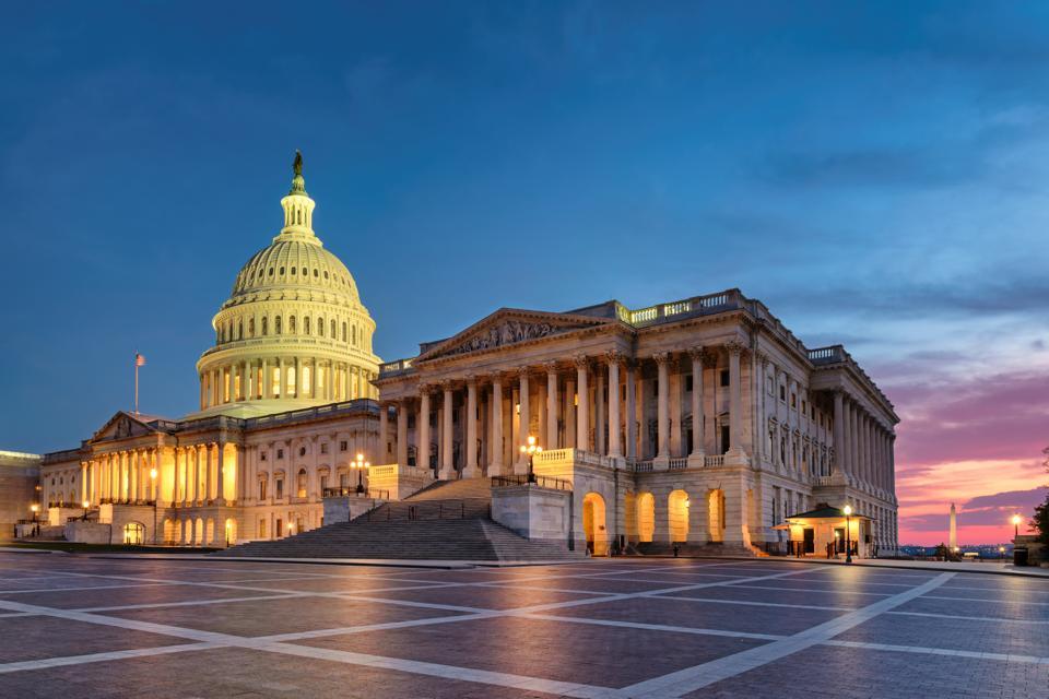 Washington DC, US Capitol Building at sunset